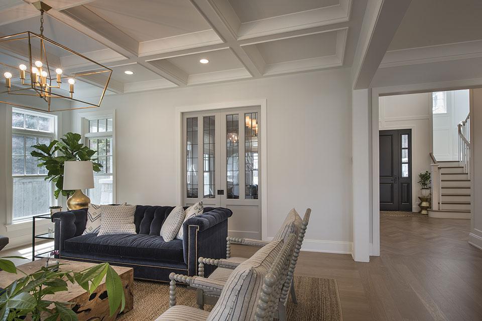 Glenview-Coastal - Family Room, Library Door - Globex Developments Custom Homes