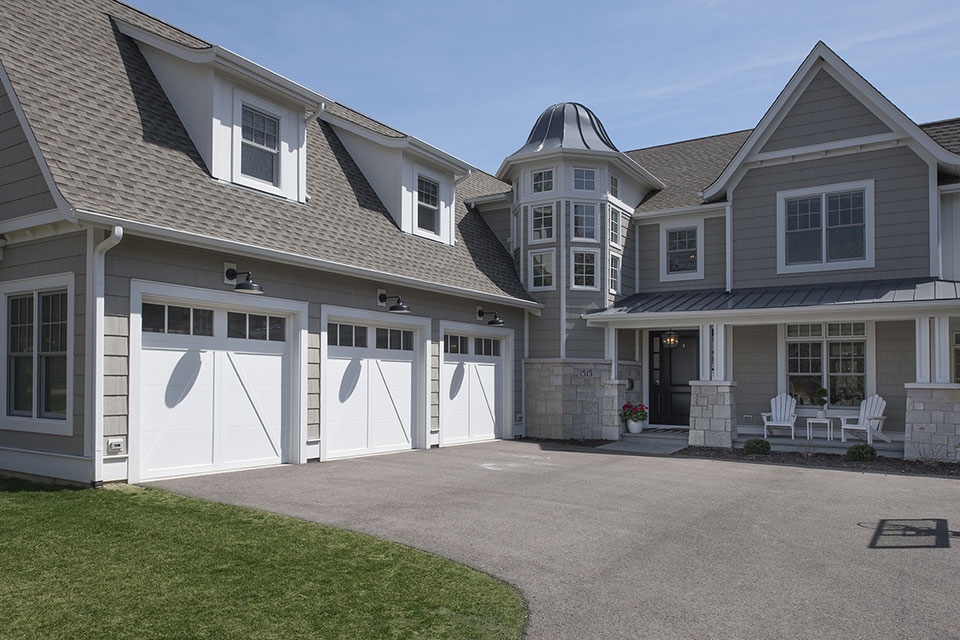 Glenview-Coastal - Front-Elevation,-Garage-Doors - Garage Door Gallery