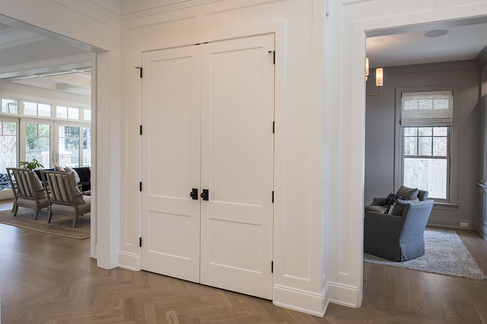 Glenview-Coastal - Paint Grade Closet Double Door - Globex Developments Custom Homes