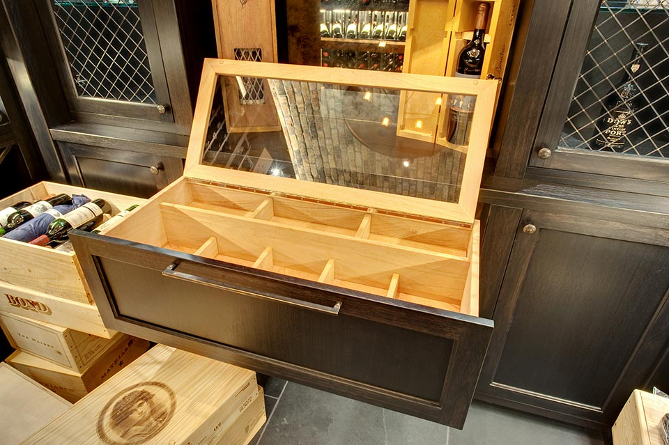 Wine-Cellar-1111-Wagner-Glenview - Humidor-Drawer - Globex Developments Custom Homes