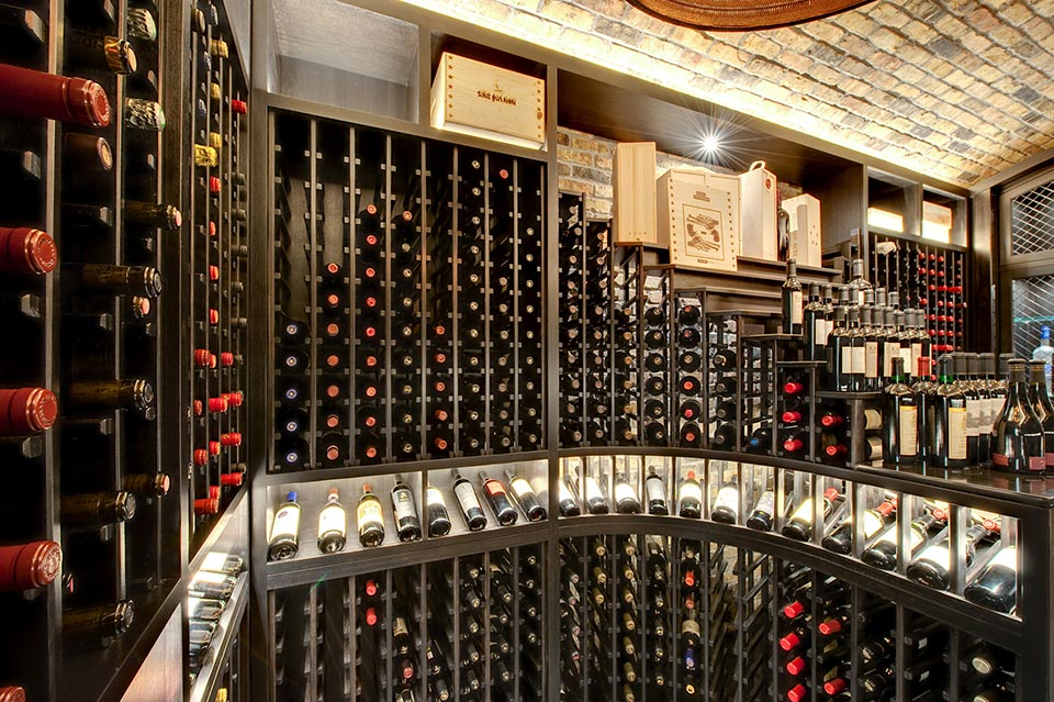 Custom Wine Cellar - Custom-made horizontal eliminated display that holds 12 bottles of wine  Wagner St., Glenview, Glenview Haus Photo Gallery, Chicago