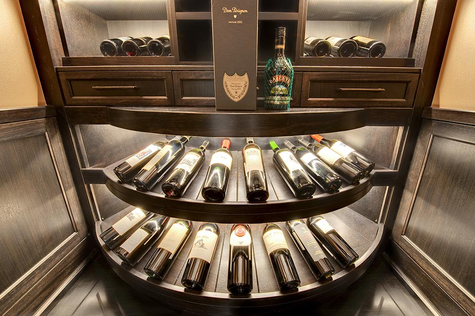 Custom Wine Cellar - Furniture-quality wooden wine tasting countertop with matching side panels Wagner St., Glenview, Glenview Haus Photo Gallery, Chicago