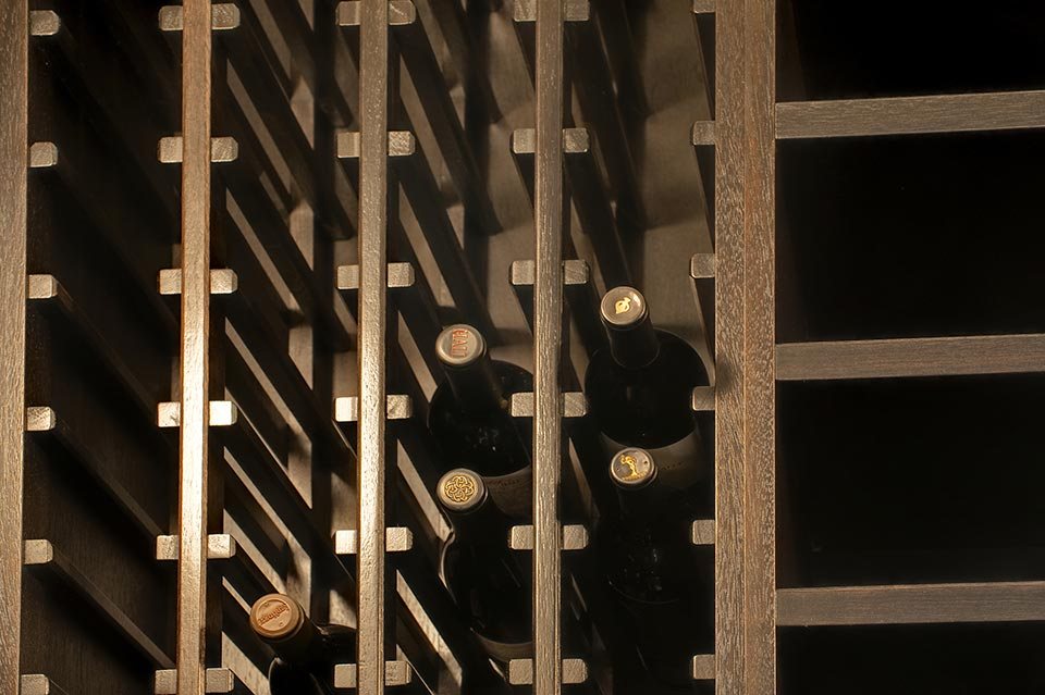 Custom Wine Cellar - Wooden vertical storage with cuts designed to fit any wine bottle Wagner St., Glenview, Glenview Haus Photo Gallery, Chicago